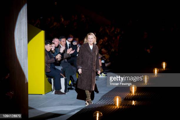 Designer Miuccia Prada at the Prada show during Milan Menswear Fashion Week Autumn/Winter 2019/20 on January 13, 2019 in Milan, Italy.