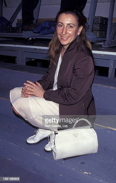 Designer Miuccia Prada attends Fashion Week Prada Fashion Show on April 6, 1995 at Bryant Park in New York City.