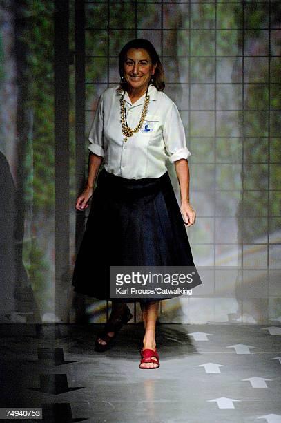 Designer Miuccia Prada walks down the catwalk during the Prada fashion show as part of Spring Summer 2008 Milan Menswear fashion week on June 24,...