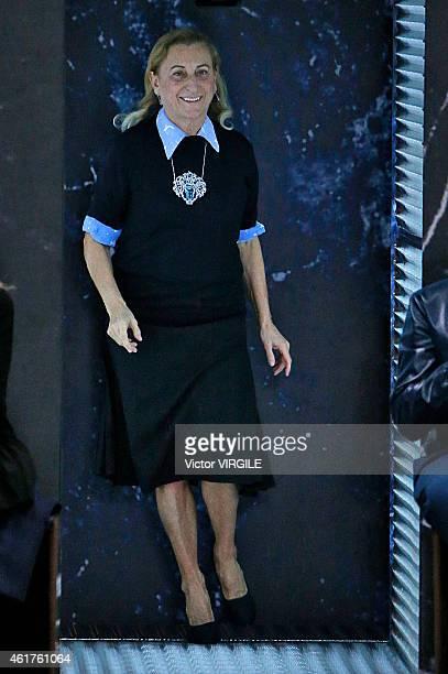 Designer Miuccia Prada walks the runway at the Prada Autumn Winter 2015 fashion show during Milan Menswear Fashion Week on January 18, 2015 in Milan,...