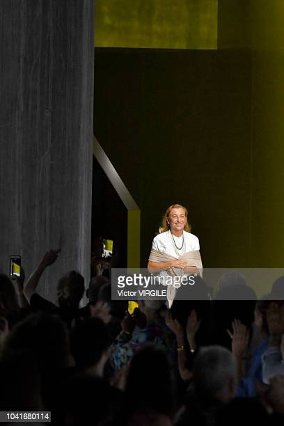 Designer Miuccia Prada walks the runway at the Prada Ready to Wear fashion show during Milan Fashion Week Spring/Summer 2019 on September 20, 2018 in...