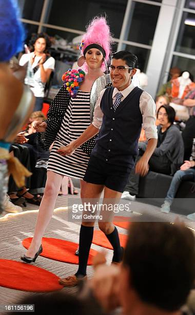 Designer Mondo celebrated his win in an offbeat style competition at the Denver Art Museum Friday night With the help of assistant Meredith Murphy...
