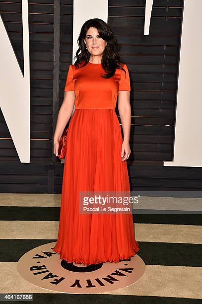 Designer Monica Lewinsky attends the 2015 Vanity Fair Oscar Party hosted by Graydon Carter at Wallis Annenberg Center for the Performing Arts on...