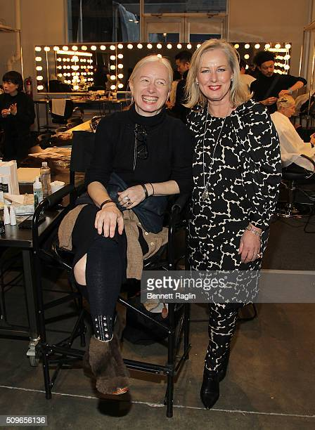 Designer Monika Kowalska and Karen Ballou pose for a picture backstage during A Detacher Fall 2016 New York Fashion Week at Pier 59 on February 11...
