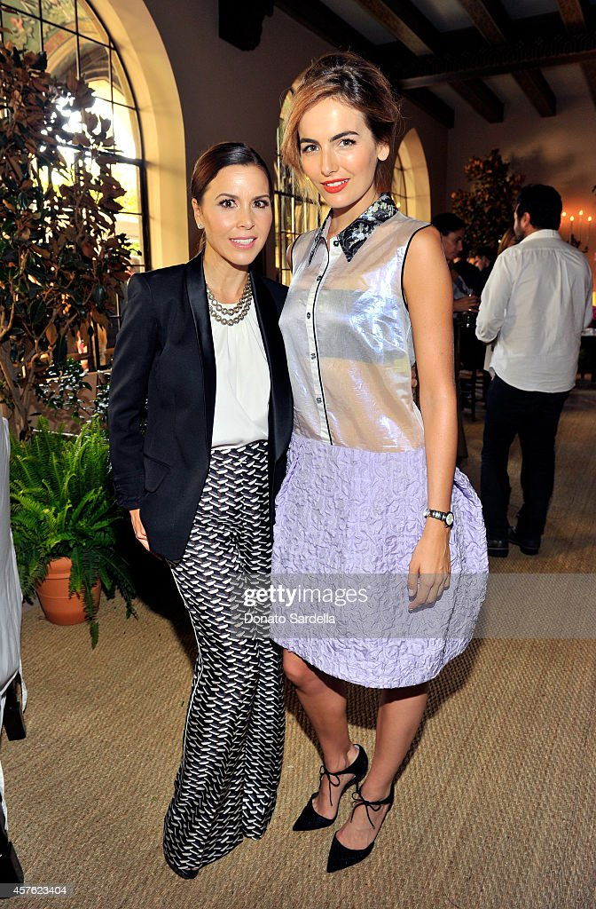 Designer Monique Lhuillier (L) and actress Camilla Belle attend the 2014 CFDA/Vogue Fashion Fund Event presented by thecorner.com and supported by Aveda, Lexus, and Maybelline New York at Chateau Marmont on October 21, 2014 in Los Angeles, California.