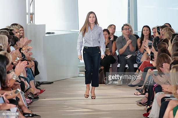 Designer Monique Lhuillier greets the audience from the runway for the Monique Lhuillier fashion show during New York Fashion Week September 2016 at...