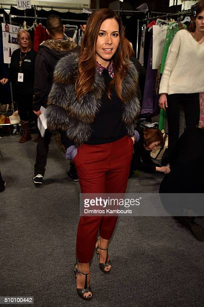 Designer Monique Lhuillier poses backstage at the Monique Lhuillier Fall 2016 fashion show during New York Fashion Week The Shows at The Arc Skylight...