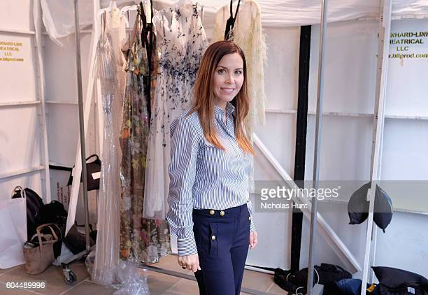 Designer Monique Lhuillier poses backstage for the Monique Lhuillier fashion show during New York Fashion Week September 2016 at The IAC Building on...