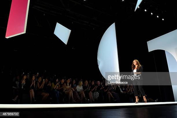 Designer Monique Lhuillier walks the runway at Monique Lhuillier Spring 2016 during New York Fashion Week The Shows at The Arc Skylight at Moynihan...