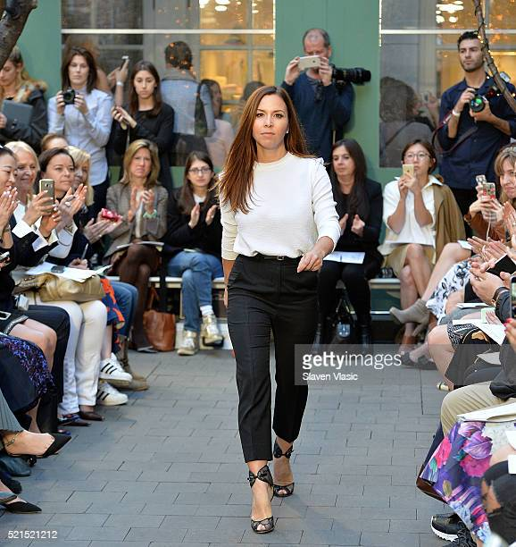 Designer Monique Lhuillier walks the runway at Monique Lhuillier Bridal Spring/Summer 2017 Fashion Show at Laduree Soho on April 15 2016 in New York...