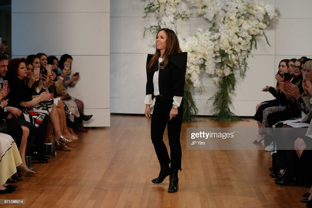 Designer Monique Lhuillier walks the runway at the Monique Lhuillier Spring 2018 Bridal show at Carnegie Hall on April 21, 2017 in New York City.