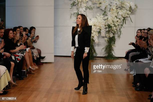 Designer Monique Lhuillier walks the runway at the Monique Lhuillier Spring 2018 Bridal show at Carnegie Hall on April 21 2017 in New York City