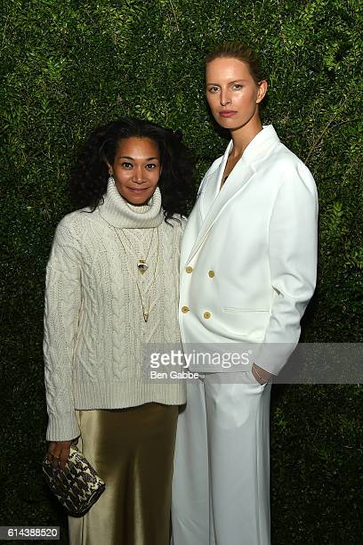 Designer Monique Pean and model Karolina Kurkova attend the Franca Chaos and Creation New York Screening at Metrograph on October 13 2016 in New York...