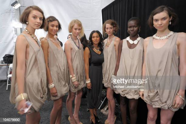 Designer Monique Pean backstage at the Monique Pean Spring 2011 fashion show during MercedesBenz Fashion Week at The Box at Lincoln Center on...