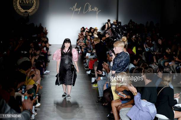 Designer Moon Chang walks the runway wearing Moon Chang for CAAFD Emerging Designer Collective during New York Fashion Week The Shows on September 10...