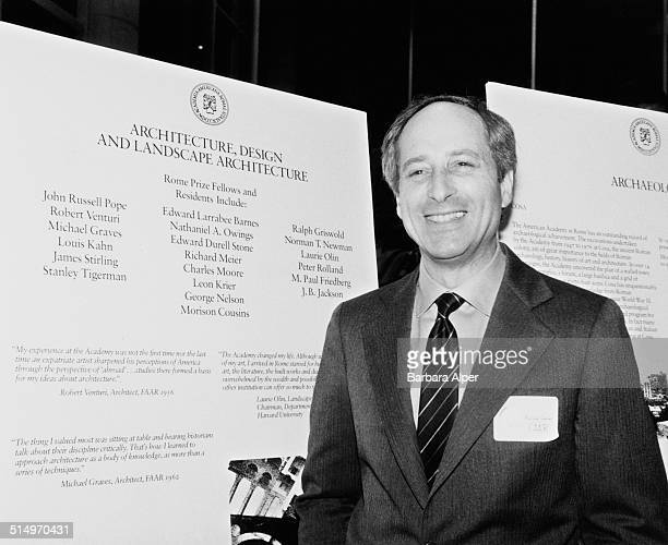 Designer Morison S. Cousins, winner of the Rome Prize in 1984, standing by a list of Fellows and Residents for the Rome Prize in Architecture, Design...