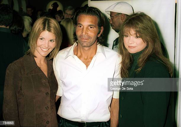 Designer Mossimo Giannulli with actress wife Lori Loughlin left and actress Valerie Bertinelli attend a party to launch the famed sportswear designer...