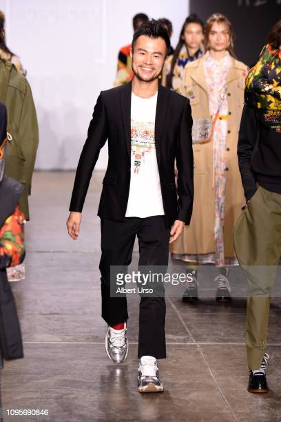 Designer Mr Mountain Yam walks the runway wearing 112 MountainYam for the Fashion Hong Kong FW19 Collections fashion show during New York Fashion...
