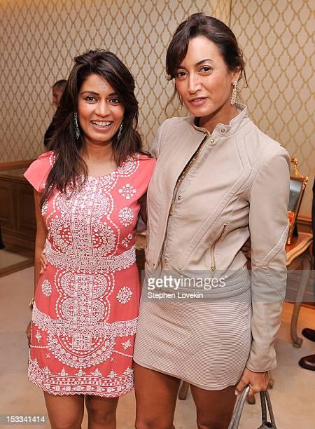 Designer Mrinalini Kumari and Maria Buccellati attend a cocktail reception for Tracy Paul And Company Presenting Buccellati's Pendant Earring...