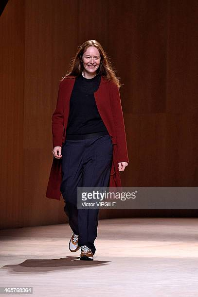 Designer Nadege Vanhee-Cybulski walks the runway during the Hermes show as part of the Paris Fashion Week Womenswear Fall/Winter 2015/2016 on March...