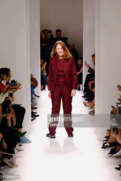 Designer Nadège Vanhee-Cybulski walks the runway during the Hermes designed by Nadège Vanhee-Cybulski show as part of the Paris Fashion Week...