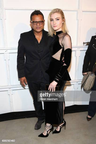Designer Naeem Khan and actress Skyler Samuels pose backstage for the Naeem Khan collection during New York Fashion Week The Shows at Gallery 2...