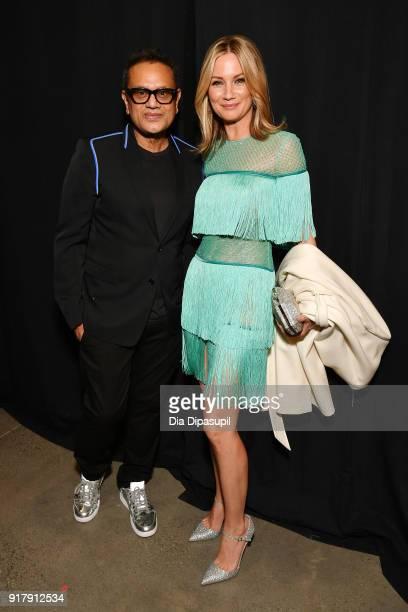 Designer Naeem Khan and recording artist Jennifer Nettles backstage for Naeem Khan during New York Fashion Week The Shows at Gallery I at Spring...