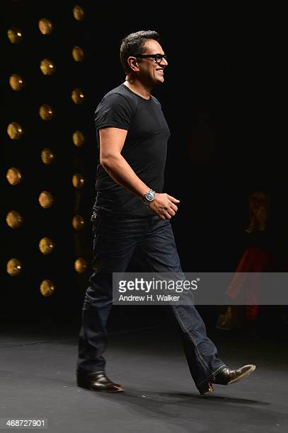 Designer Naeem Khan at the Naeem Khan show during MercedesBenz Fashion Week Fall 2014 at Lincoln Center for the Performing Arts on February 11 2014...