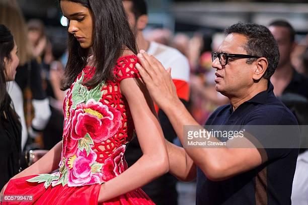 Designer Naeem Khan attends the Naeem Khan fashion show during September 2016 New York Fashion Week at The Arc Skylight at Moynihan Station on...