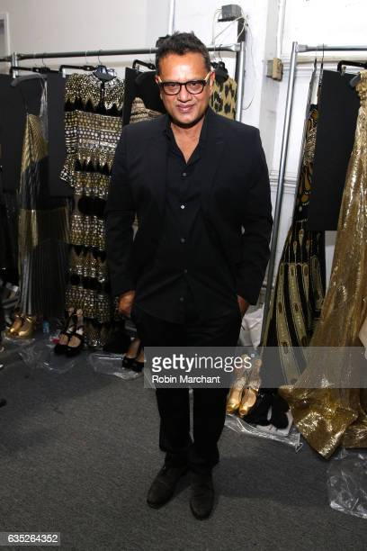 Designer Naeem Khan poses backstage for the Naeem Khan collection during New York Fashion Week The Shows at Gallery 2 Skylight Clarkson Sq on...