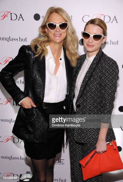 Designer Nanette Lepore and actress Emma Roberts attend the Vogue Eyewear and CFDA unveiling of the Emma sunglass with Nanette Lepore and Emma...