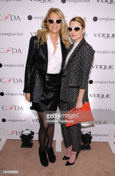 4adfcc4b83 Designer Nanette Lepore and actress Emma Roberts attend the Vogue Eyewear  and CFDA unveiling of the