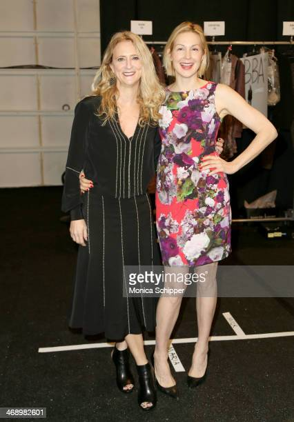 Designer Nanette Lepore and actress Kelly Rutherford pose backstage at the Nanette Lepore fashion show during MercedesBenz Fashion Week Fall 2014 at...