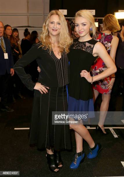 Designer Nanette Lepore and actress Peyton List backstage at the Nanette Lepore fashion show during MercedesBenz Fashion Week Fall 2014 at The Salon...