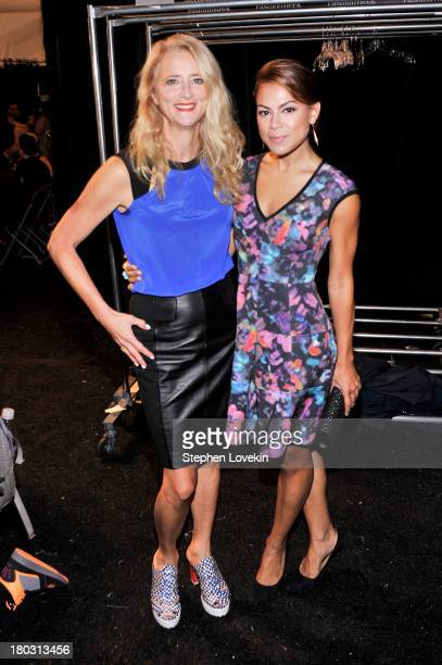 Designer Nanette Lepore and actress Toni Trucks pose backstage at the Nanette Lepore fashion show during MercedesBenz Fashion Week Spring 2014 at The...