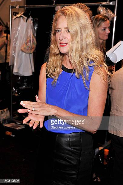 Designer Nanette Lepore poses backstage at the Nanette Lepore fashion show during MercedesBenz Fashion Week Spring 2014 at The Stage at Lincoln...