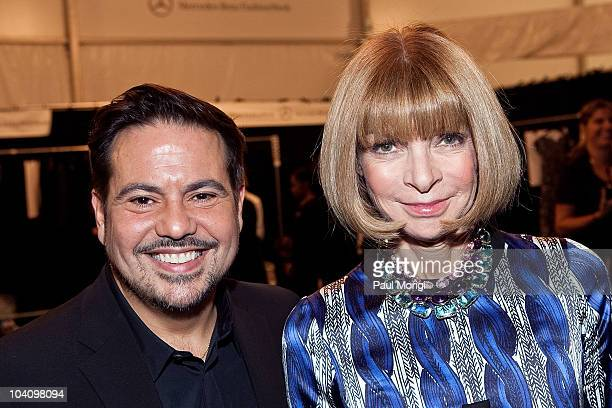 Designer Narciso Rodriguez and Vogue's Anna Wintour pose for a photo backstage at the Narciso Rodriguez Spring 2011 fashion show during MercedesBenz...