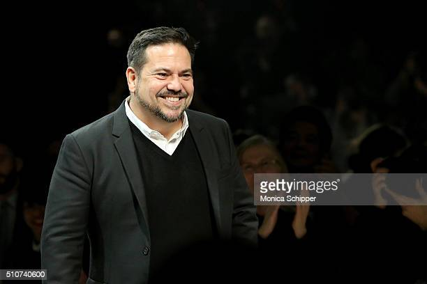 Designer Narciso Rodriguez attends the Narciso Rodriguez Fall 2016 fashion show during New York Fashion Week at SIR Stage 37 on February 16 2016 in...