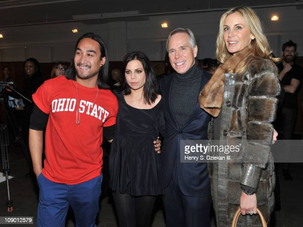 Designer Nary Manivong, Ally Hilfiger, Tommy Hilfiger and Dee Hilfiger attends the Nahm Fall 2011 fashion show during Mercedes-Benz Fashion Week at...