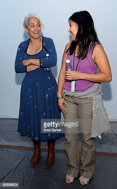 Designer Natalie Chanin and an unidentified woman talk at the Project Alabama 2006 Spring show during Olympus Fashion Week in Bryant Park September...