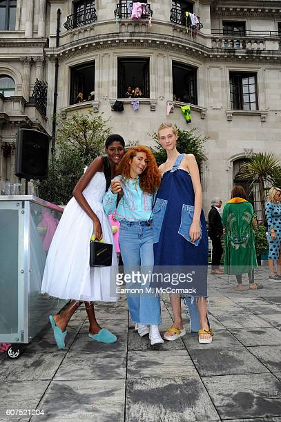 Designer Natasha Zinko and models pose at the Natasha Zinko presentation during London Fashion Week Spring/Summer collections 2017 on September 18...