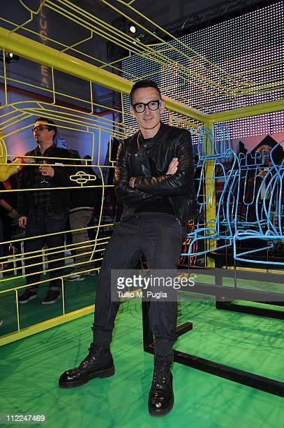 designer Neil Barrett attends the Benedict Radcliffe wireframe design installation inspired by Range Rover Evoque at the Opificio 31 during Milan...