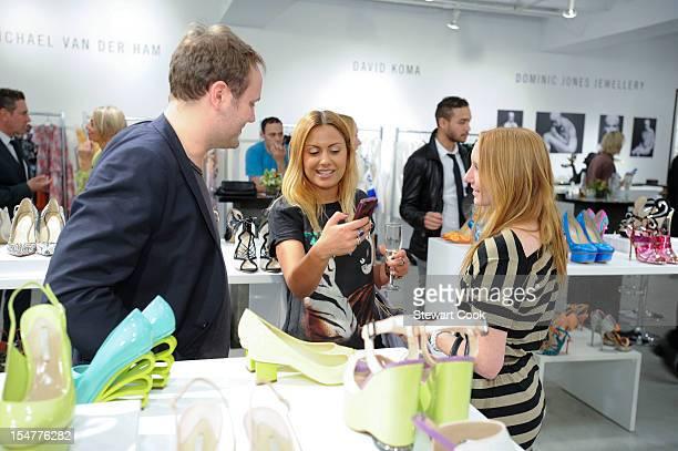Designer Nicholas Kirkwood Natalie Mark and Angelica Gleson attend The British Fashion Council's International Showcasing Initiative LONDON Show...