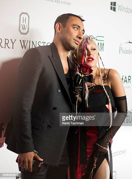 Designer Nicola Formichetti and model Brooke Candy attend the 7th Annual amfAR Inspiration Gala at Skylight at Moynihan Station on June 9 2016 in New...