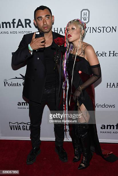 Designer Nicola Formichetti and Model Brooke Candy attends the 7th Annual amfAR Inspiration Gala at Skylight at Moynihan Station on June 9 2016 in...