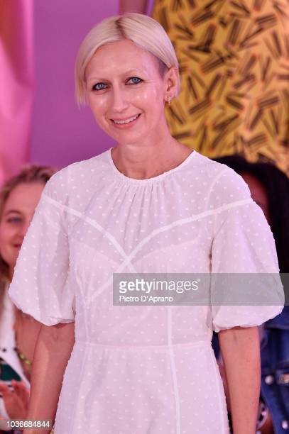 Designer Nicola Glass walks the runway at the Kate Spade New York Fashion Show during New York Fashion Week at New York Public Library on September 7...