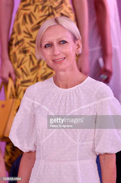 Designer Nicola Glass walks the runway at the Kate Spade New York Fashion Show during New York Fashion Week at New York Public Library on September...