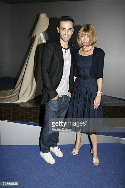 Designer Nicolas Ghesquiere and editor Anna Wintour attend a retrospective on the work of Cristobal Balenciaga at the Museum of Fashion and Textiles...
