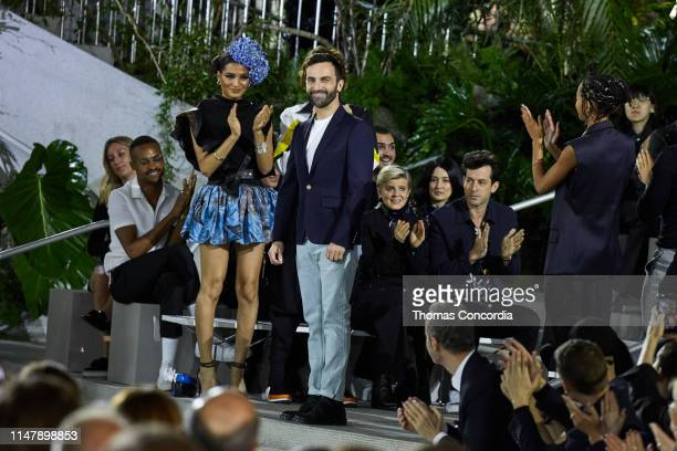 Designer Nicolas Ghesquiere greets the audience after presenting the Louis Vuitton Cruise 2020 Collection at the TWA Terminal Hotel at JFK on May 08...