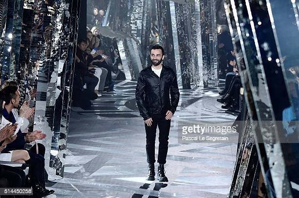 Designer Nicolas Ghesquiere walks the runway during the Louis Vuitton show as part of the Paris Fashion Week Womenswear Fall/Winter 2016/2017 on...